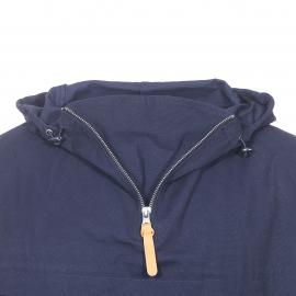 Vareuse déperlante à capuche Armor Lux en coton bleu marine