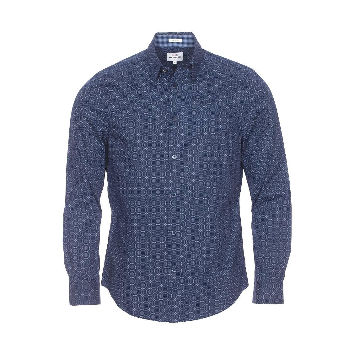 Chemise droite  en coton bleu marine à motifs bleu clair