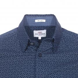 Chemise droite Ben Sherman en coton bleu marine à motifs bleu clair