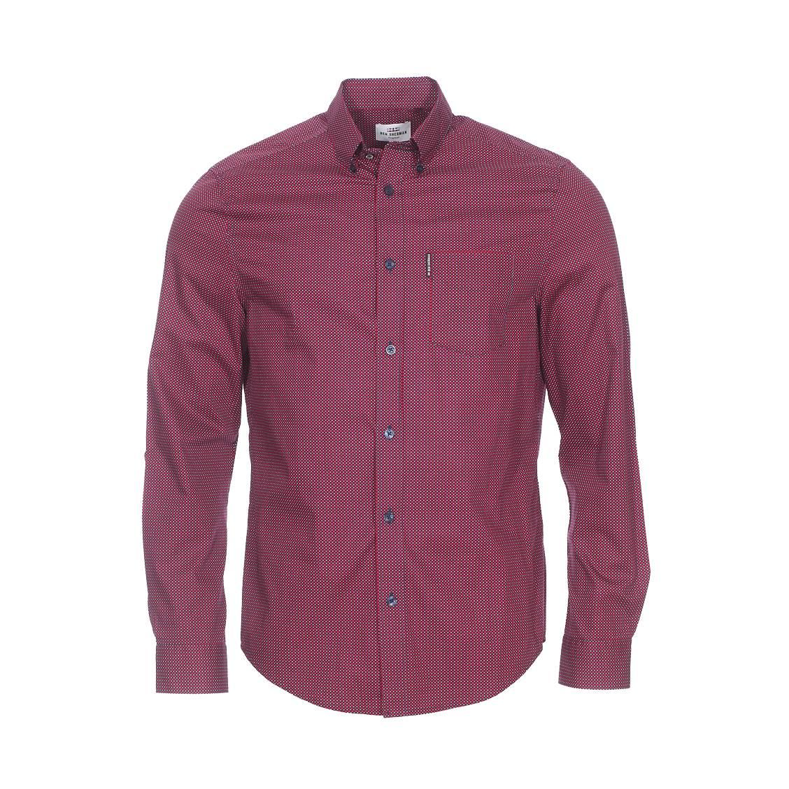 Chemise droite  en coton à carreaux rouges et bleu marine à pois blancs
