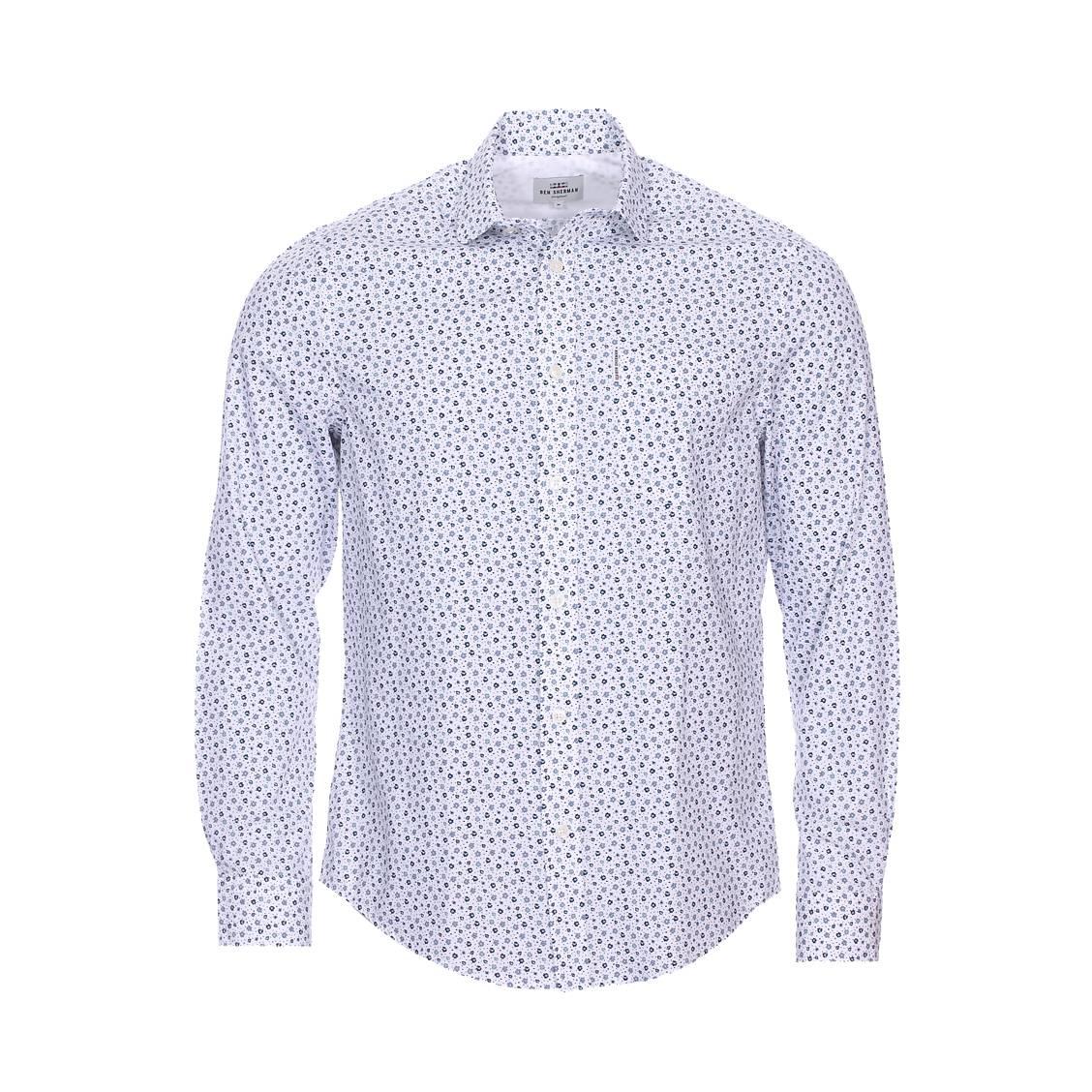 Chemise droite  en coton blanc à petites fleurs bleues