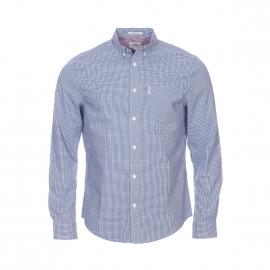 Chemise droite Ben Sherman en coton à carreaux bleu roi, bleu marine et blancs
