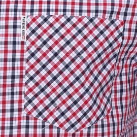 Chemise droite Ben Sherman en coton à carreaux blancs, bleu marine et rouges
