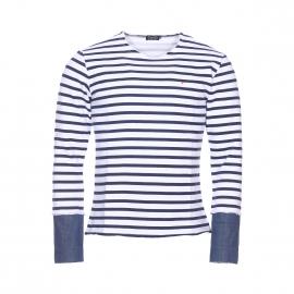 Pull col rond Deepend en coton blanc à rayures bleu marine et poignets effet chemise