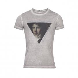 Tee-shirt col rond Deepend en coton mélangé gris perle délavé et floqué