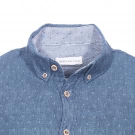 Chemise cintrée Felipe Harris Wislon en coton bleu indigo à motifs blancs, effet lin