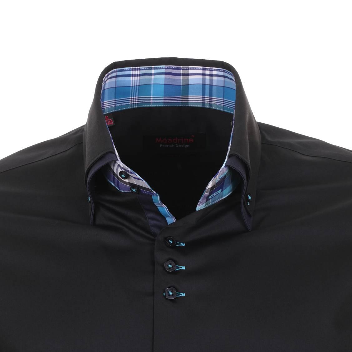 chemise méadrine noire à double col
