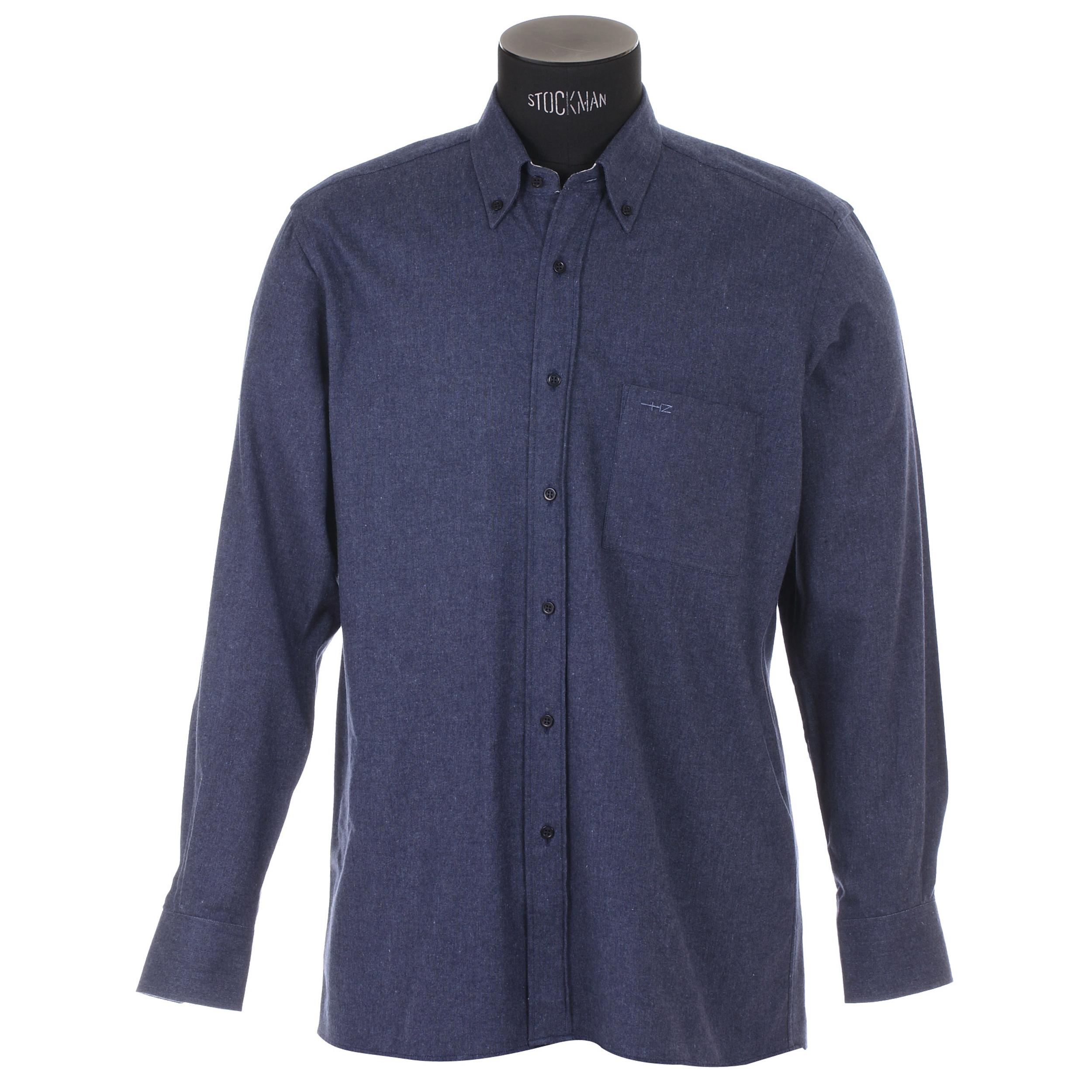 Chemise homme cintrée  simili jean avec opposition à carreaux