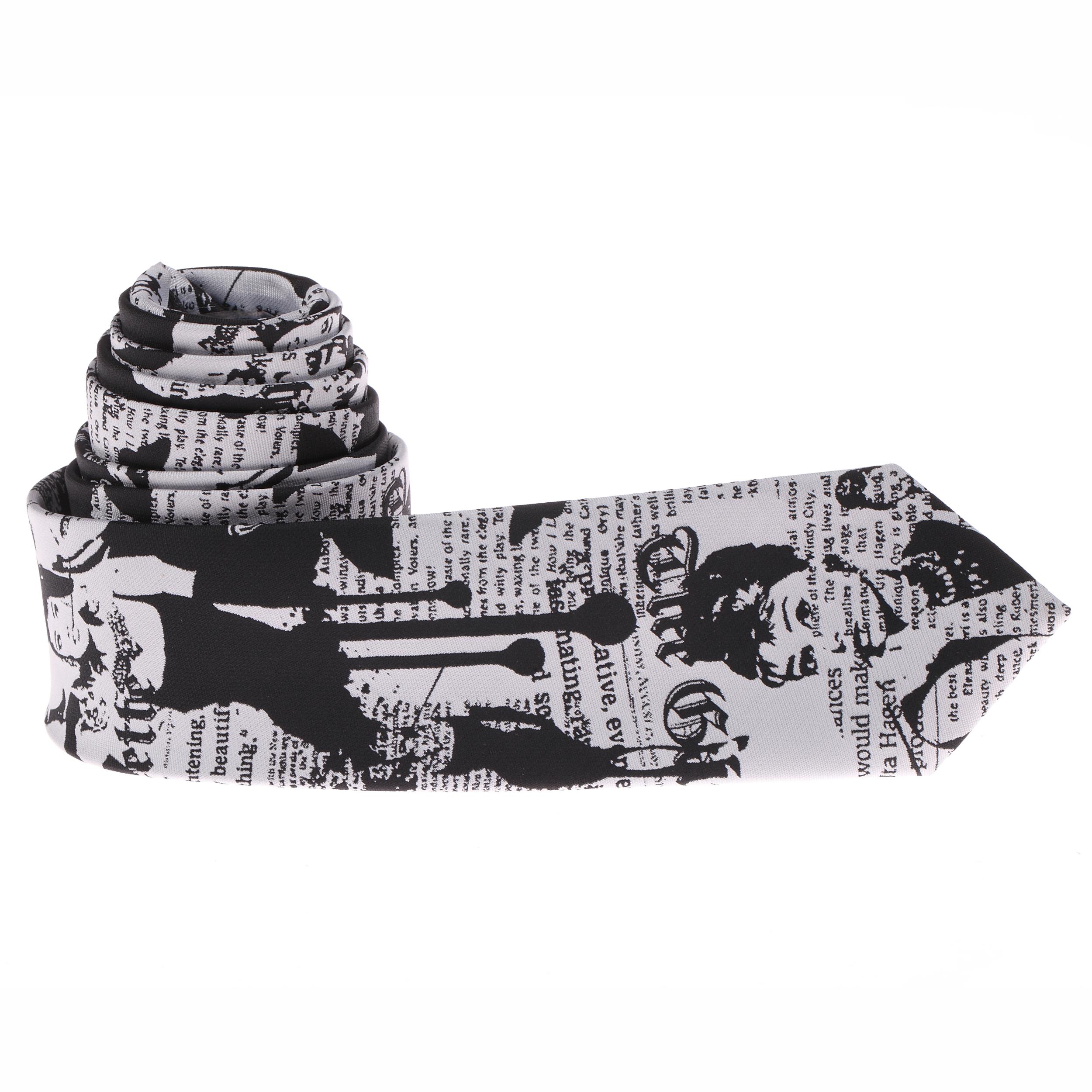 Cravate slim grise et noire avec impressions \