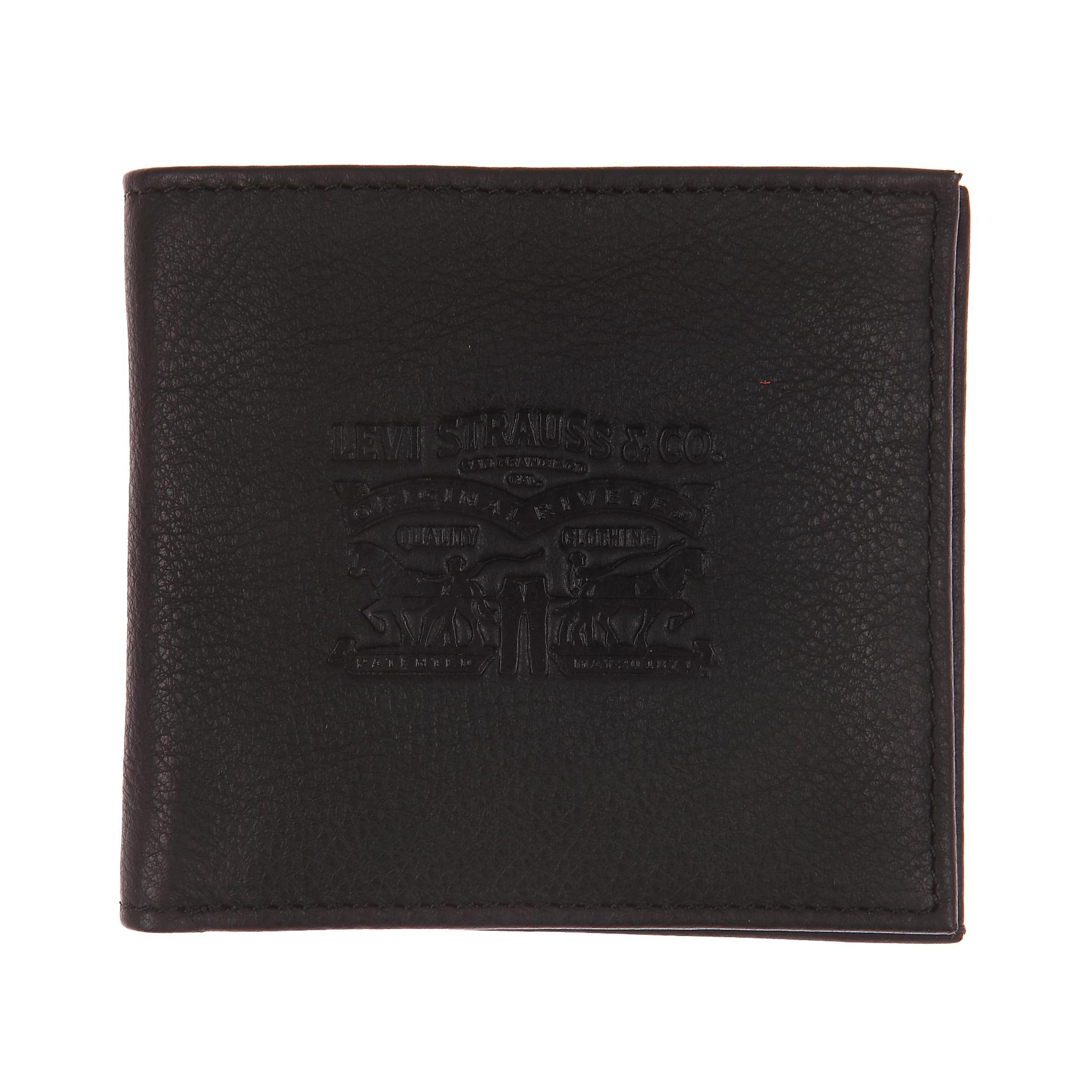 Portefeuille italien 2 volets levi\'s vintage two horse en cuir noir à porte-monnaie