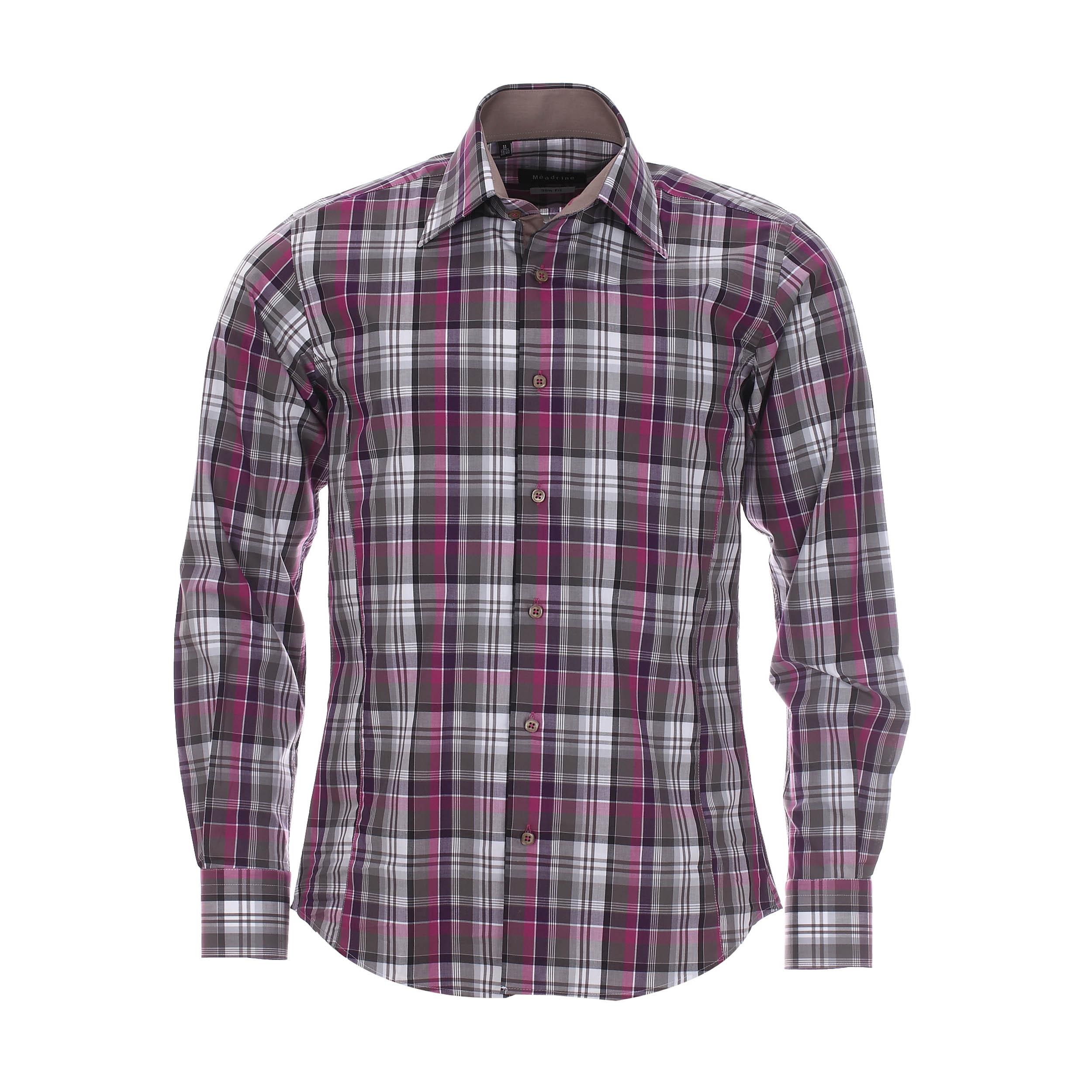 Chemise cintrée  en coton à carreaux gris et violets, opposition marron clair