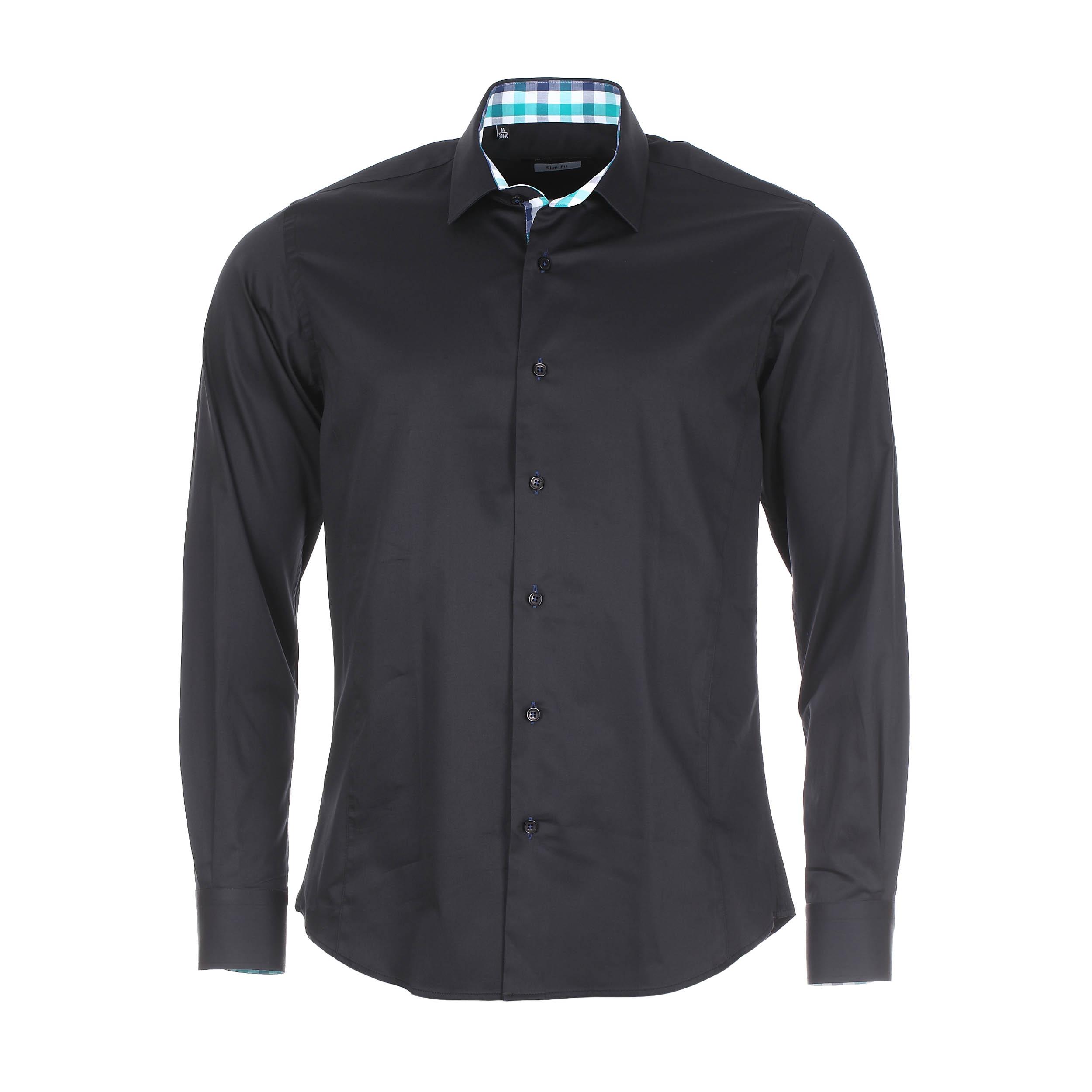 Chemise cintrée  en coton noir à opposition à carreaux turquoise