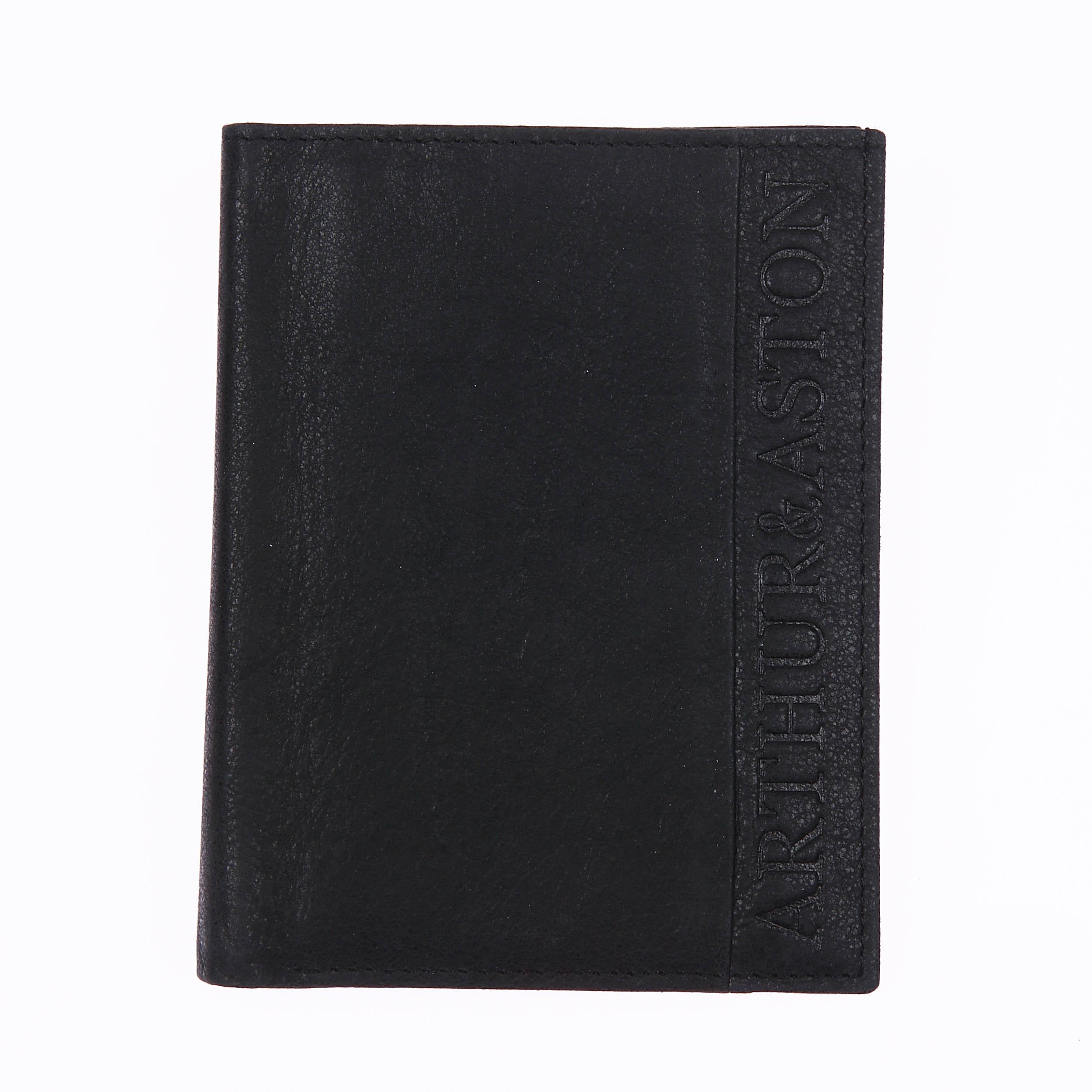 Petit portefeuille européen à 3 volets  en cuir noir