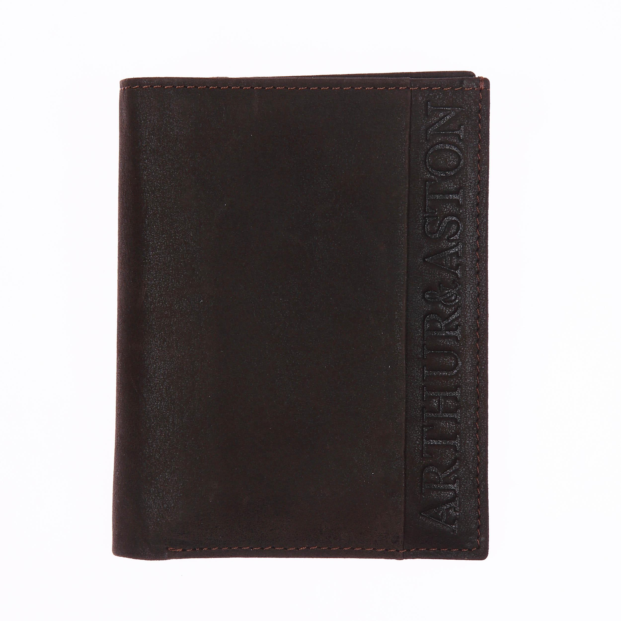 Petit portefeuille européen à 3 volets  en cuir marron