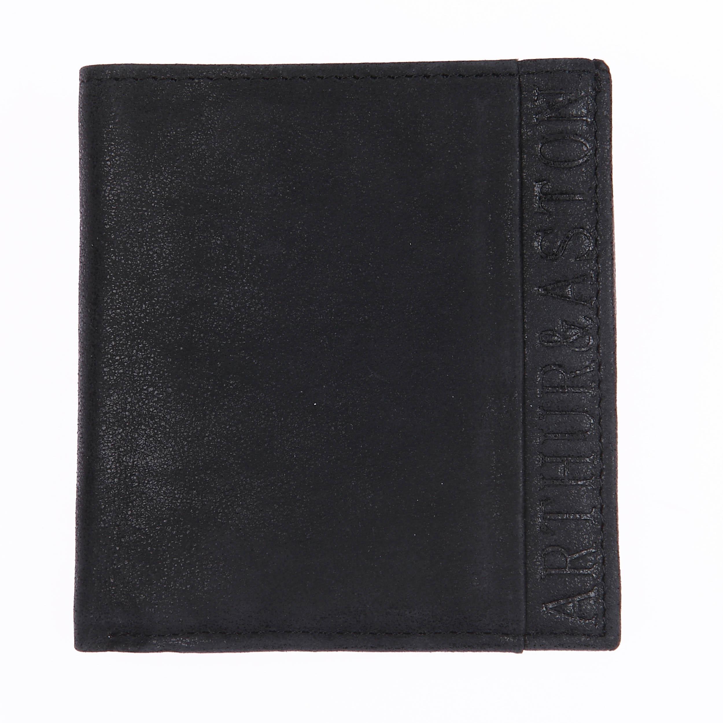 Porte-monnaie carré à 2 volets  en daim noir