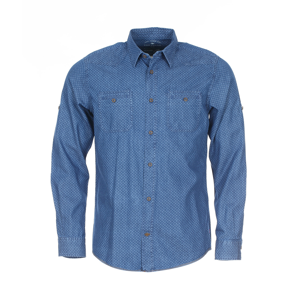 Chemise ajustée  en coton bleu jean à petits motifs bleu clair