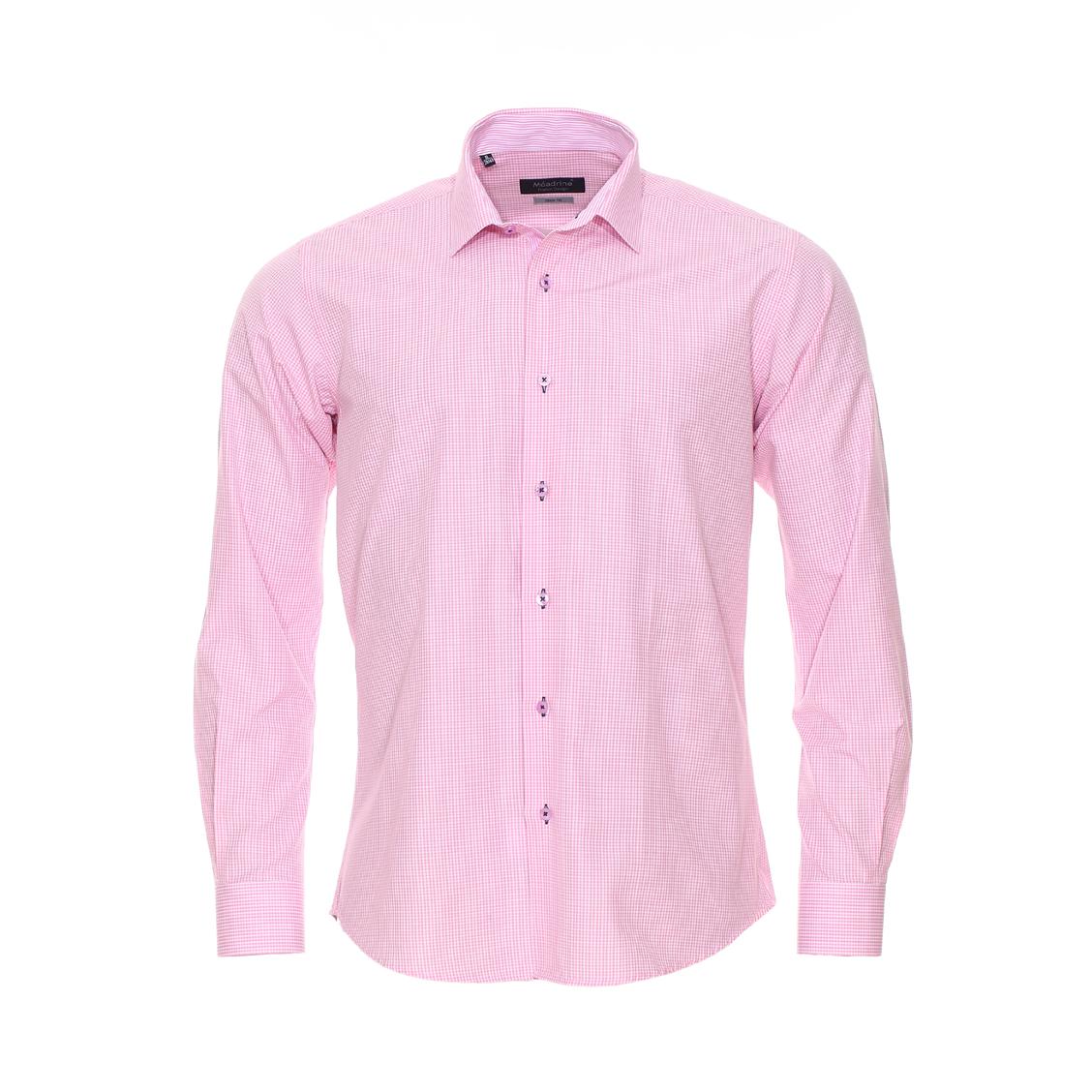 Chemise ajustée  en coton à carreaux vichy roses