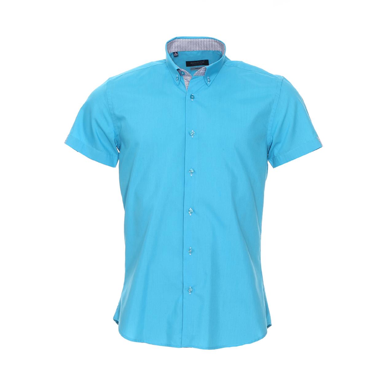 Chemise cintrée manches courtes  en coton turquoise à opposition blanc à motifs fantaisie noirs