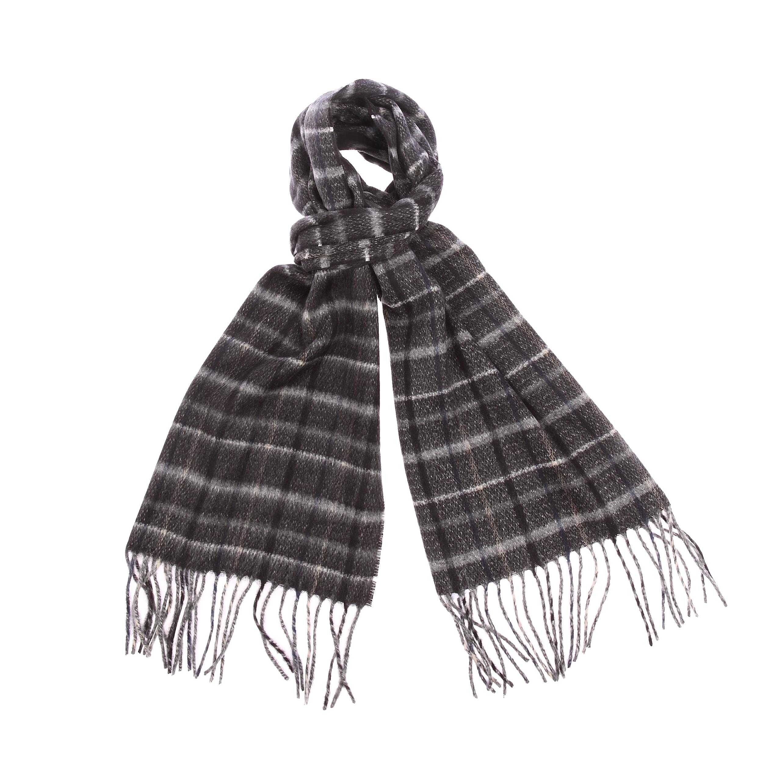 Echarpe douce jean chatel à carreaux noirs, gris clair, gris foncé, bleu foncé et ocre