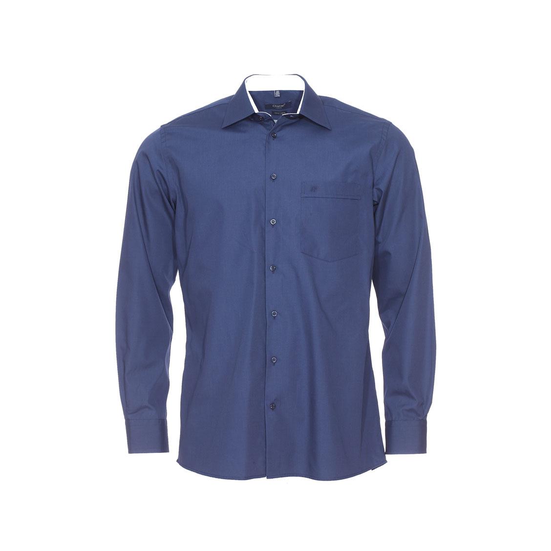 Chemise ajustée jean chatel bleu marine à opposition blanche à carreaux, repassage facile