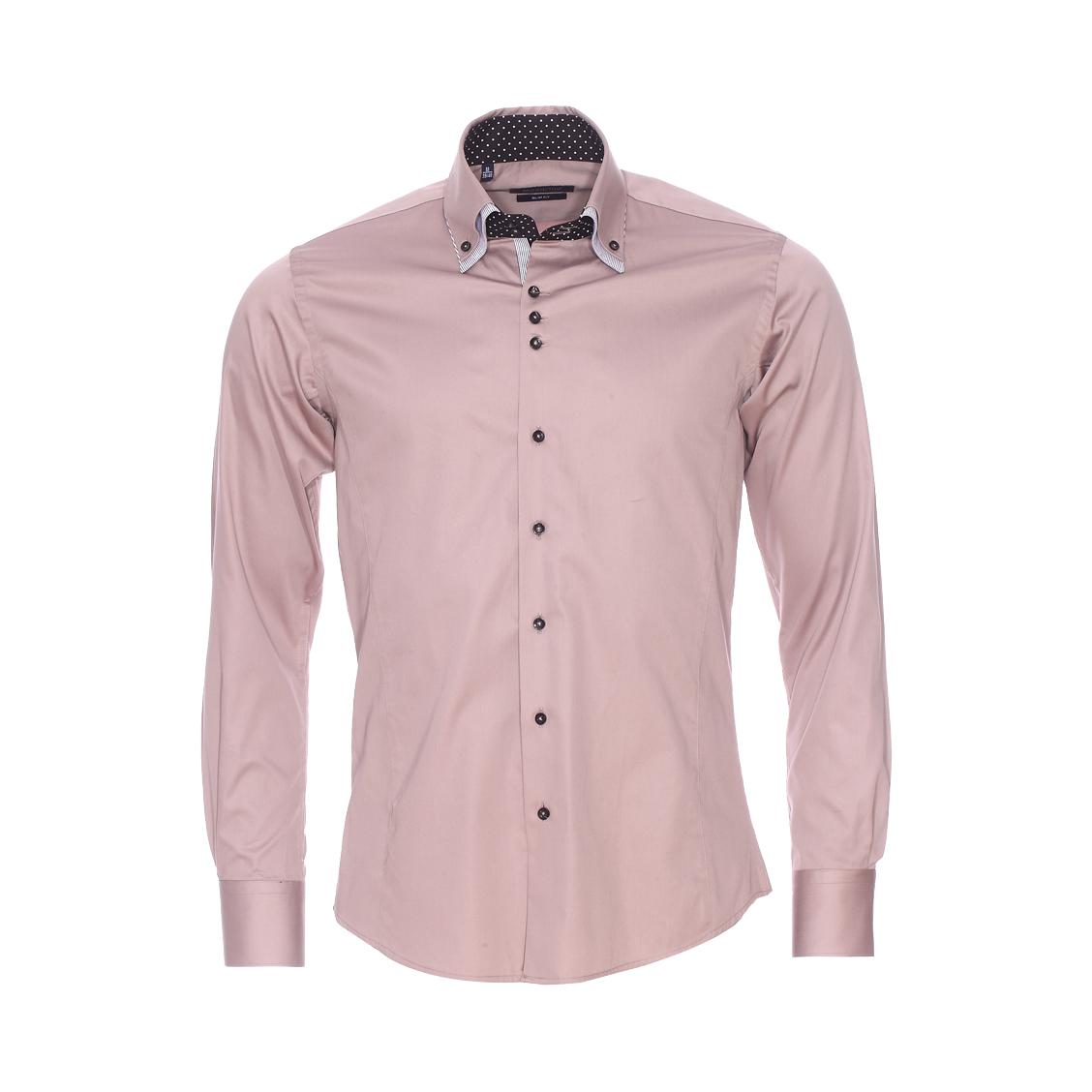 Chemise cintrée  en coton taupe à opposition noire à pois blancs