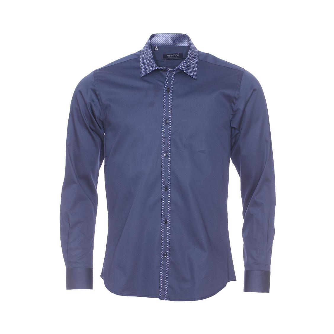 Chemise cintrée  en coton bleu marine, col à pois bleus et blancs