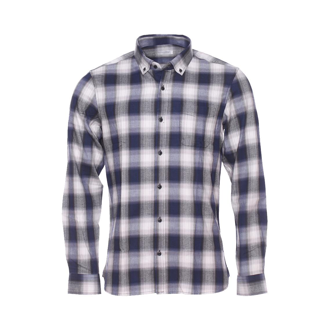 Chemise ajustée  en coton à carreaux gris, noirs et bleu marine