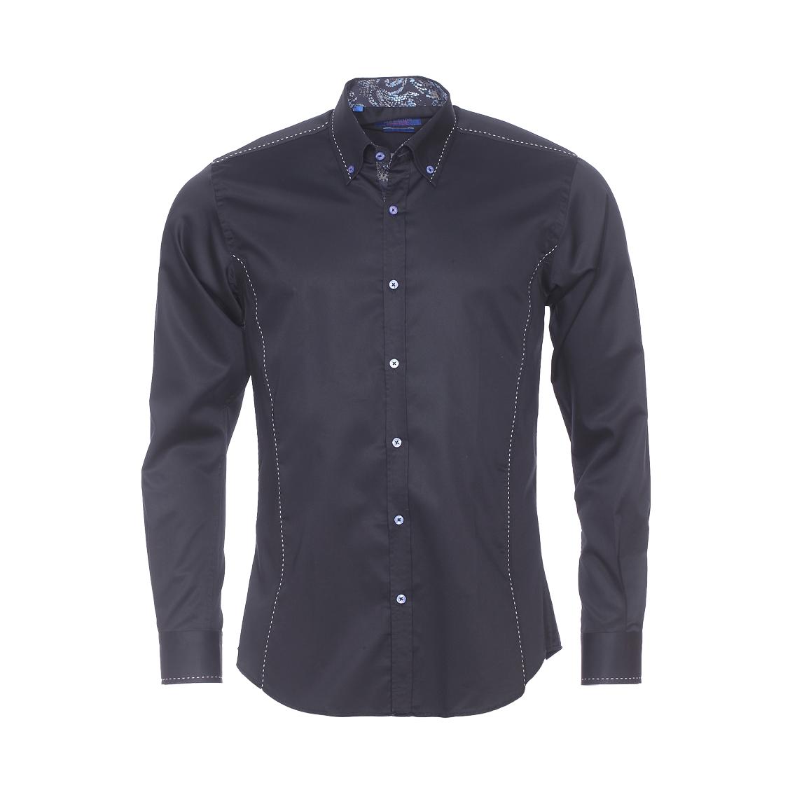 Chemise cintrée  en coton noir à surpiqûres blanches