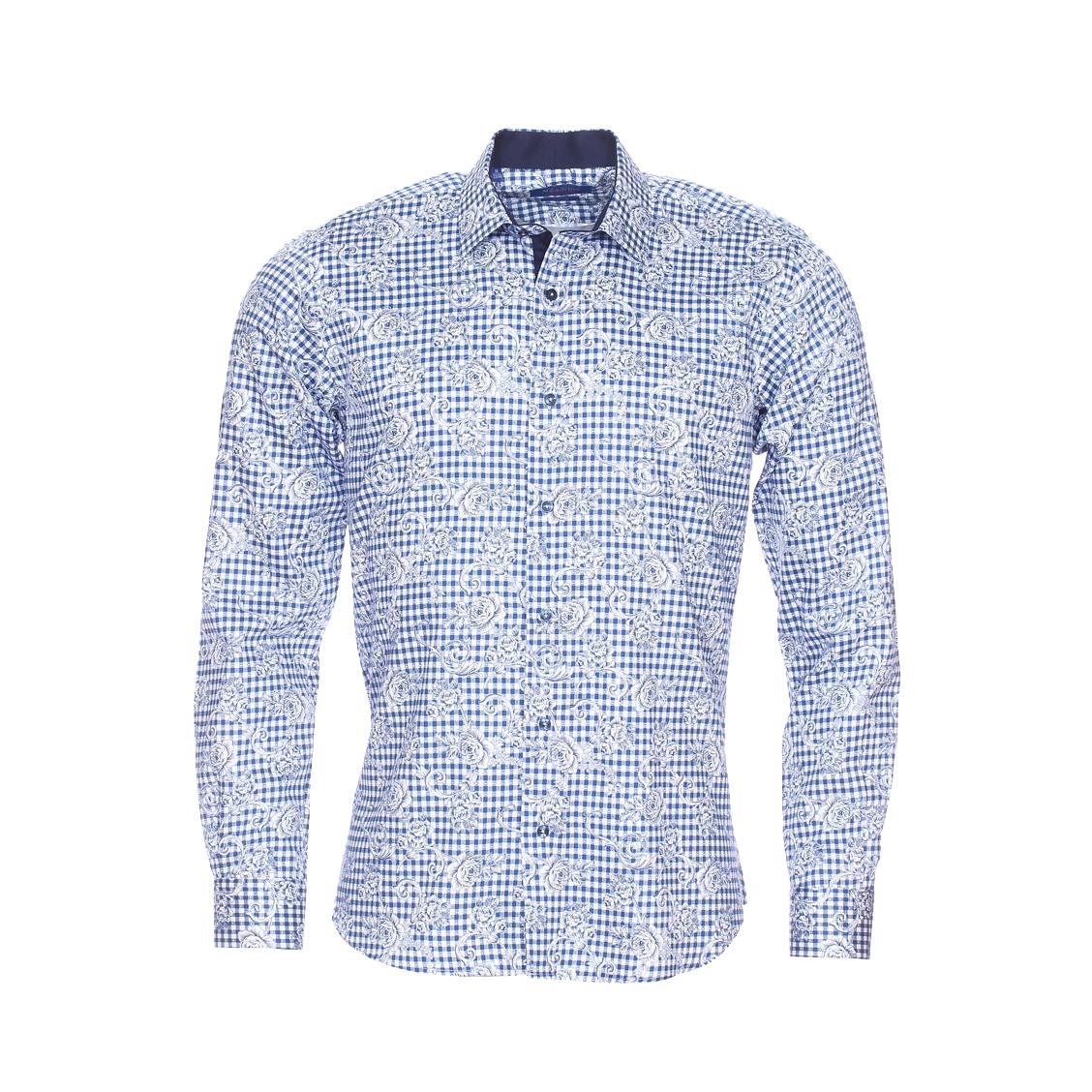Chemise cintrée  à carreaux et fleurs bleu marine et blancs