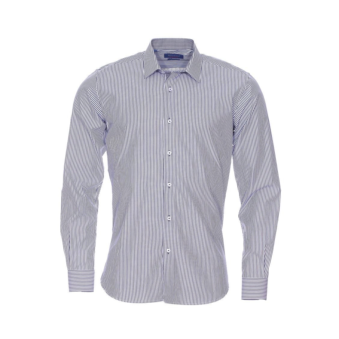 Chemise cintrée  en coton à rayures bleu marine et blanches