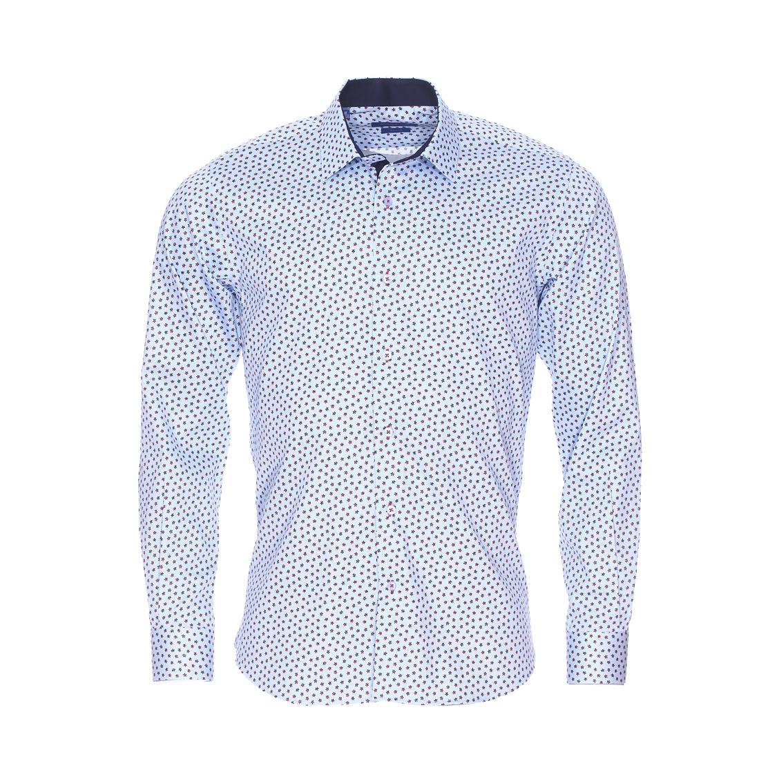 Chemise cintrée  à petits carreaux bleus et blancs et à motifs fleurs