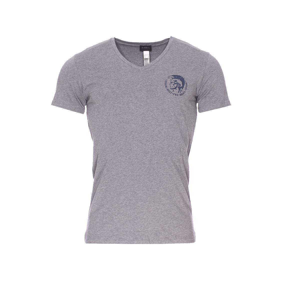 Tee-shirt col v diesel en coton stretch gris chiné