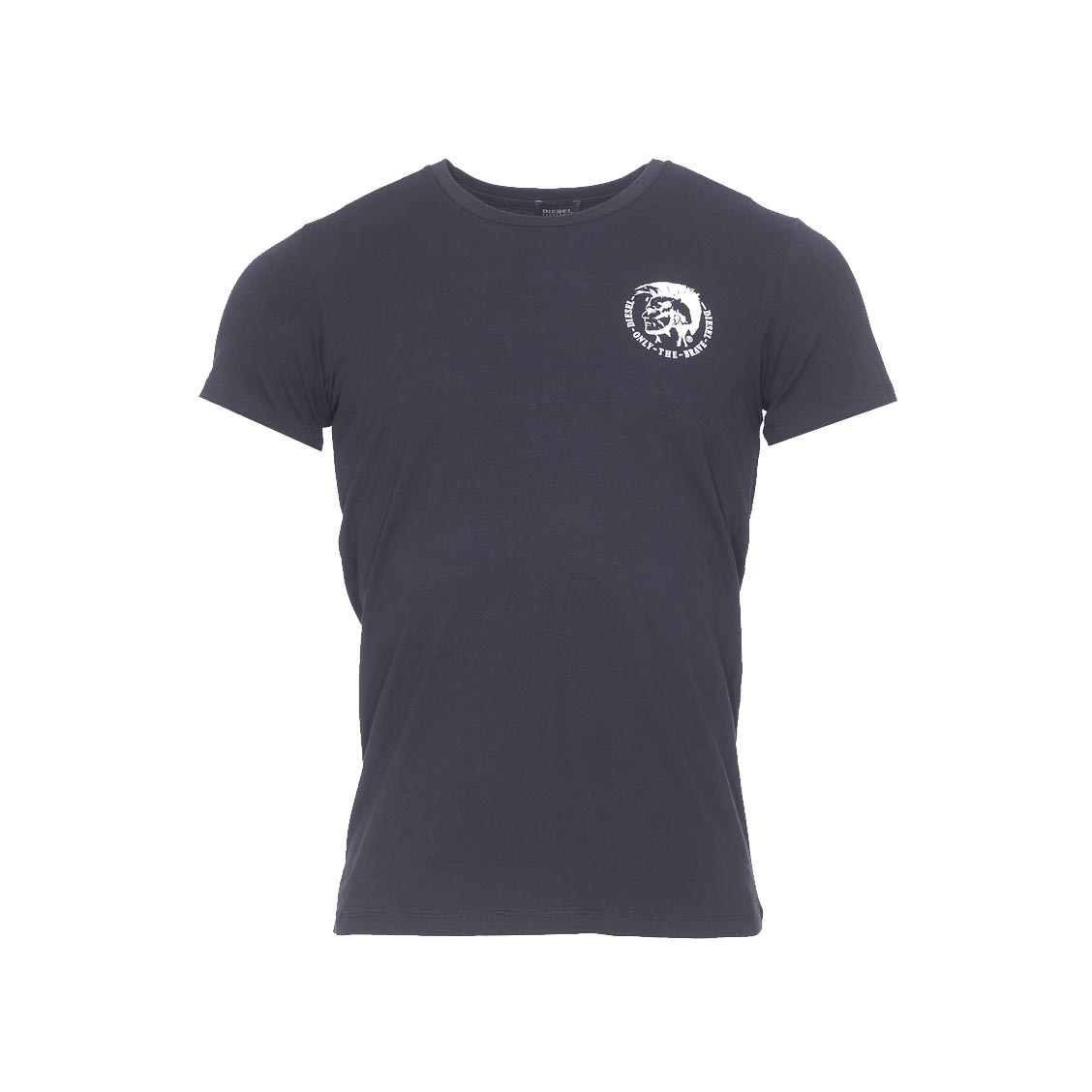 Tee-shirt col rond diesel en coton stretch noir avec logo floqué en blanc à la poitrine
