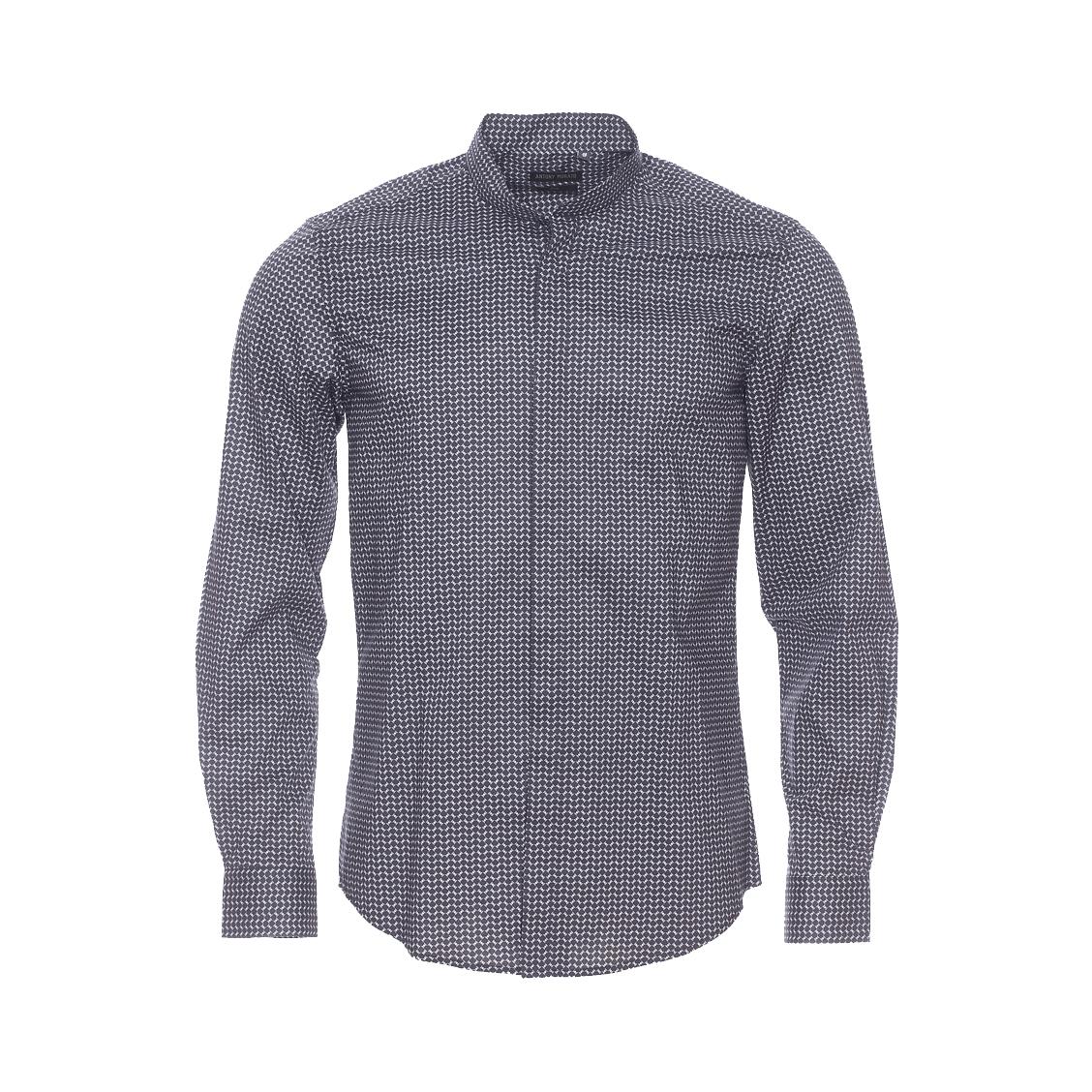 Chemise cintrée Antony Morato en coton noir à motifs et à col Mao