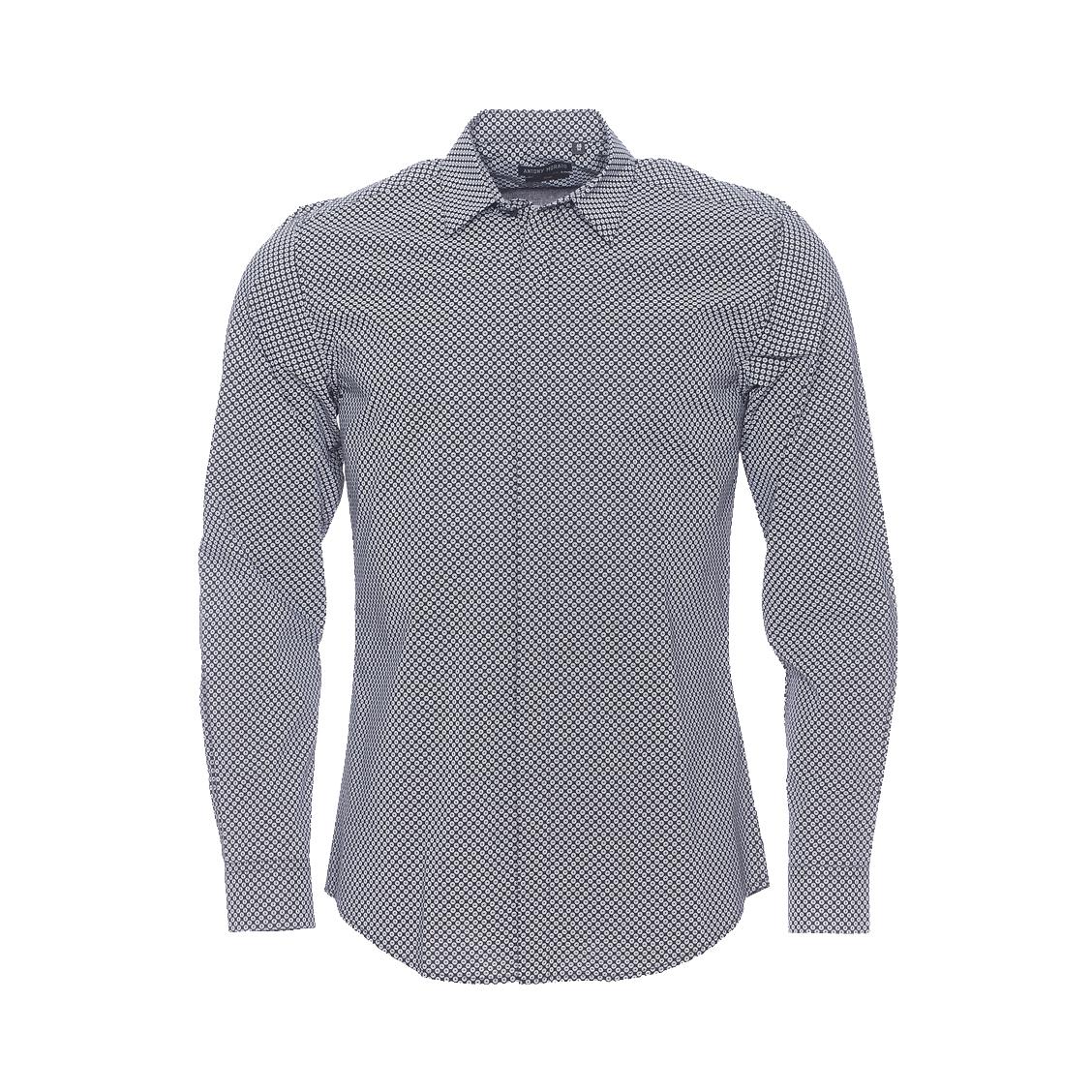 Chemise cintrée  en coton noir à motifs blancs