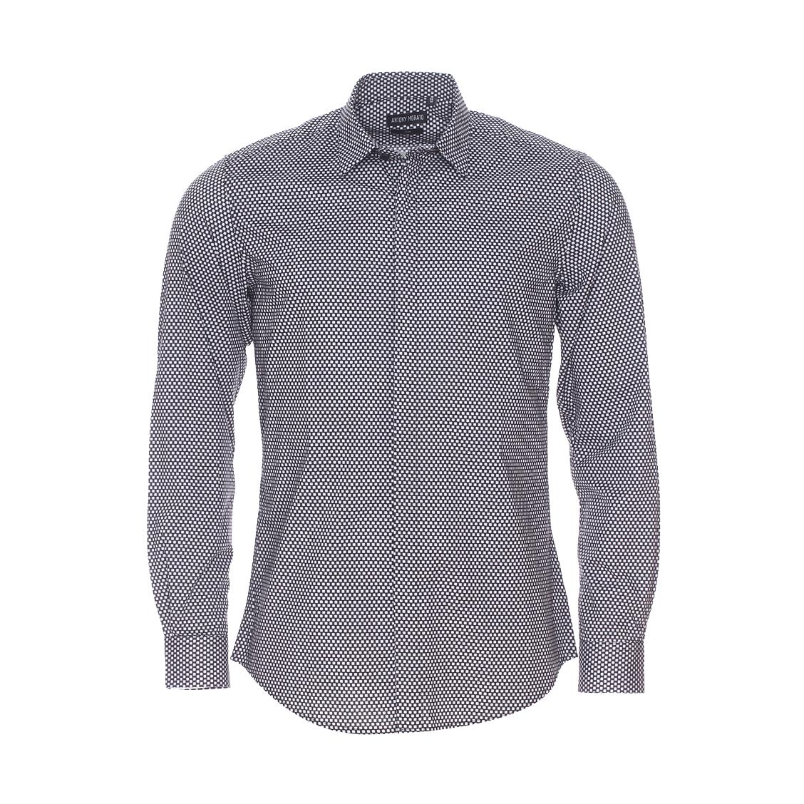 Chemise slim  en coton noir à petits motifs carrés gris et blancs