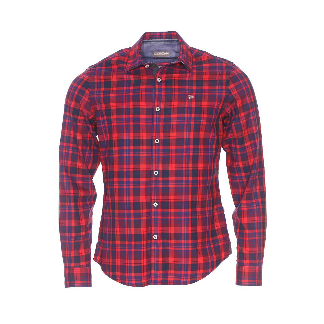 Chemise cintrée  gederit en coton rouge à carreaux bleu marine et bleu indigo