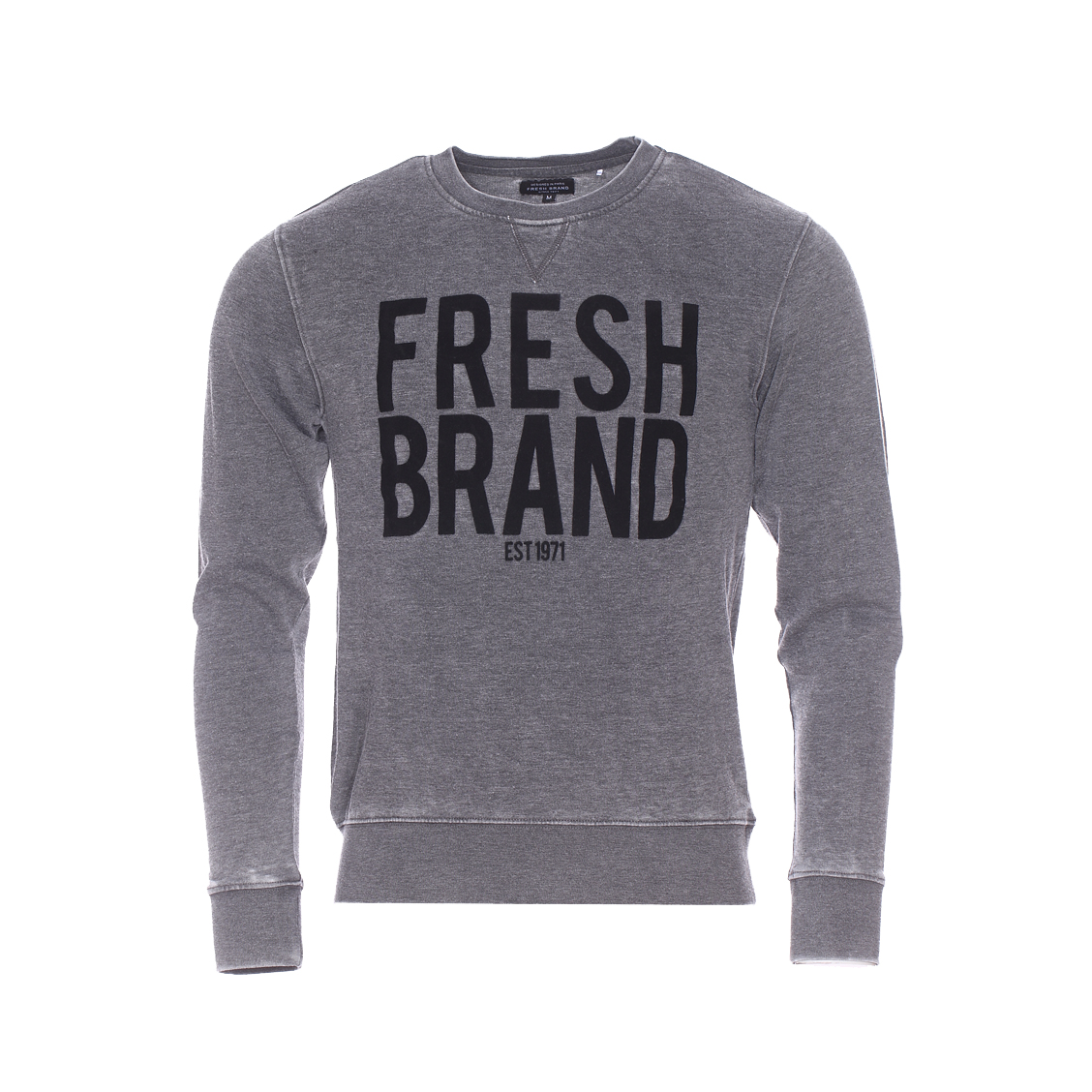 Sweat The Fresh Brand gris vintage floqué en velours noir