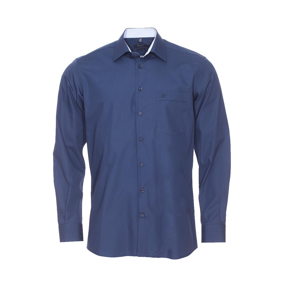 Chemise droite jean chatel bleu marine à opposition à carreaux, repassage facile