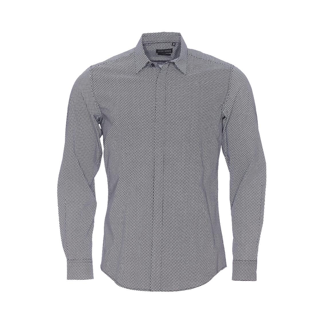 Chemise slim  en coton noir à petits motifs blancs en forme de croix