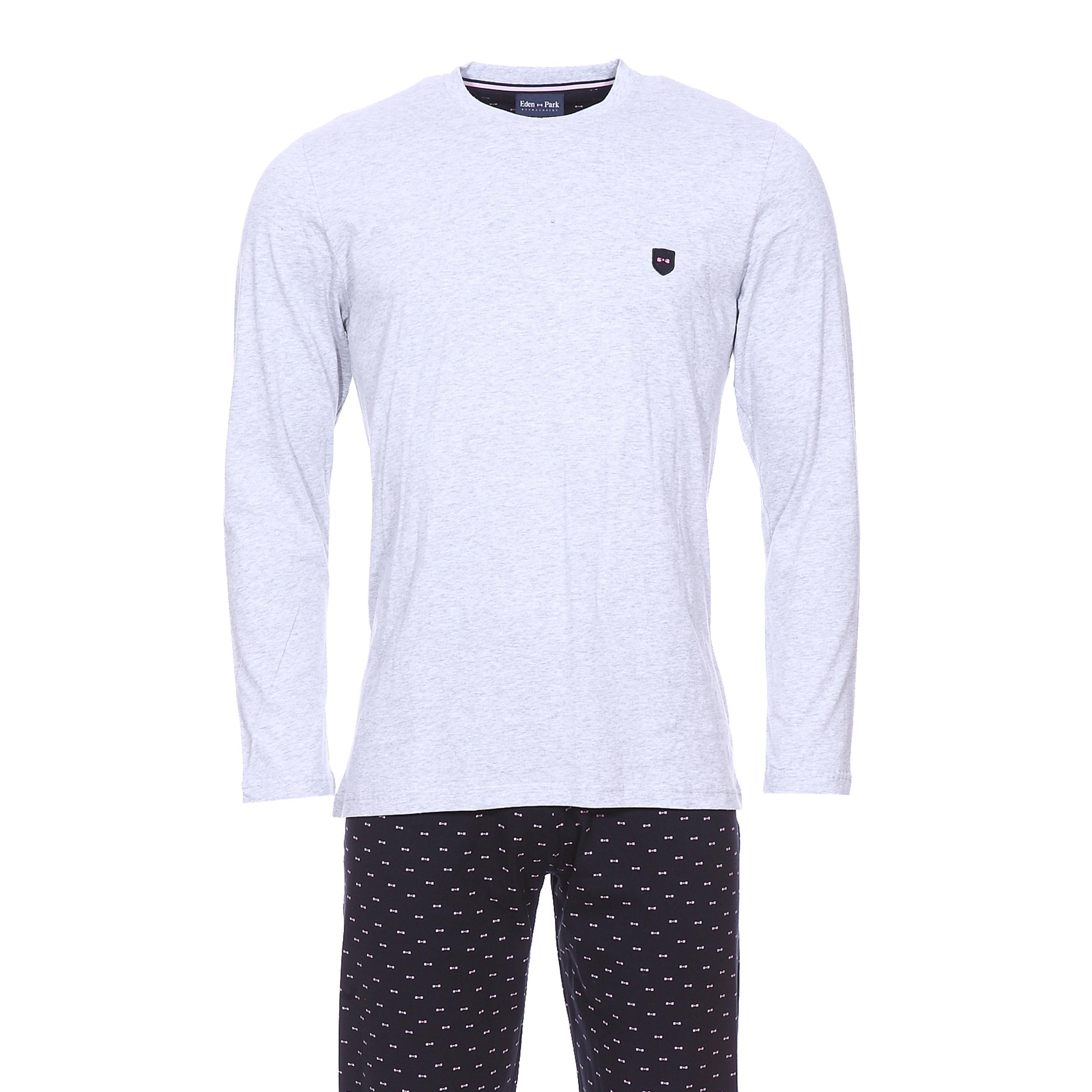 Pyjama long eden park en coton : tee-shirt manches longues gris chiné et pantalon bleu marine à petits n?uds rose pâle