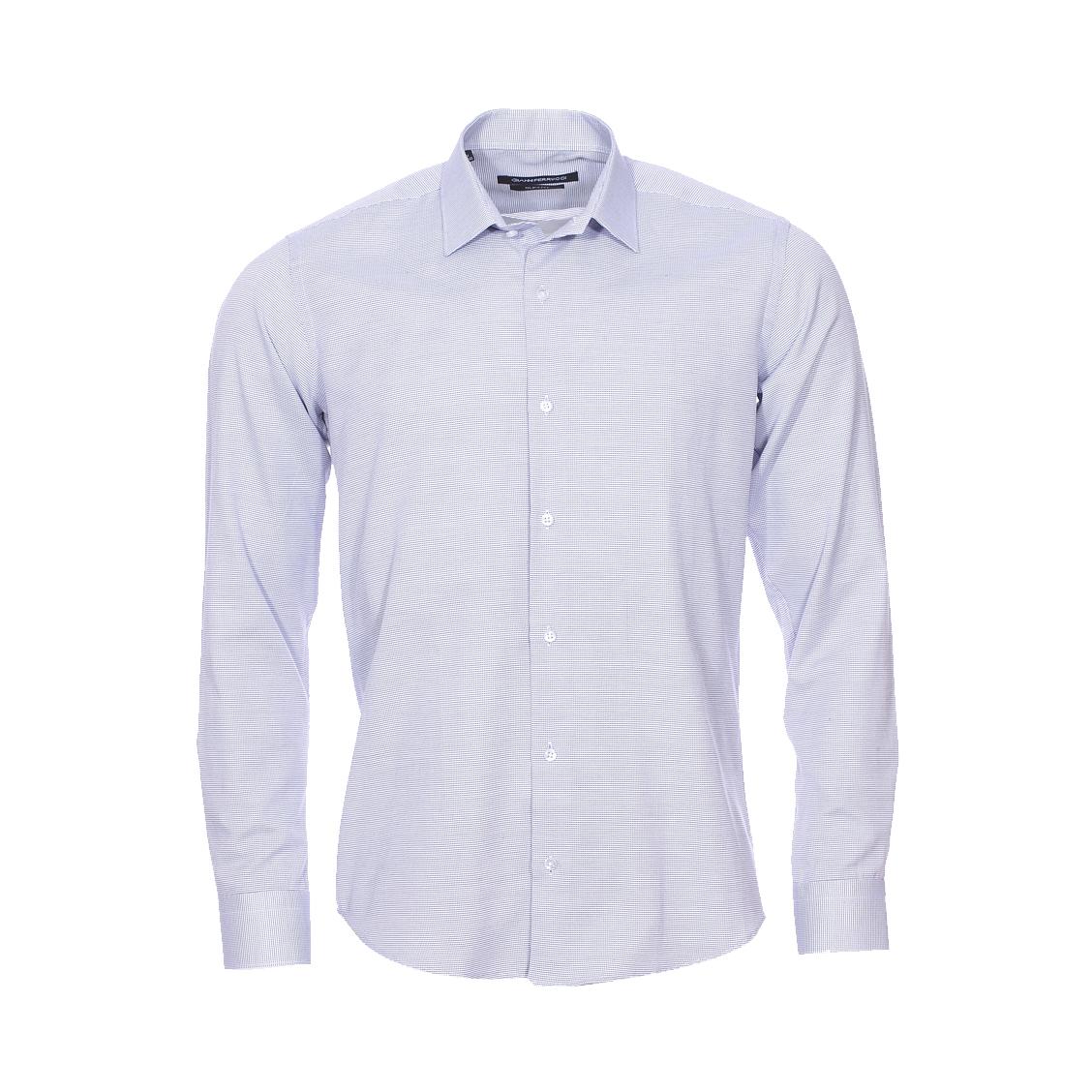 Chemise cintrée  fil à fil blanc et bleu marine