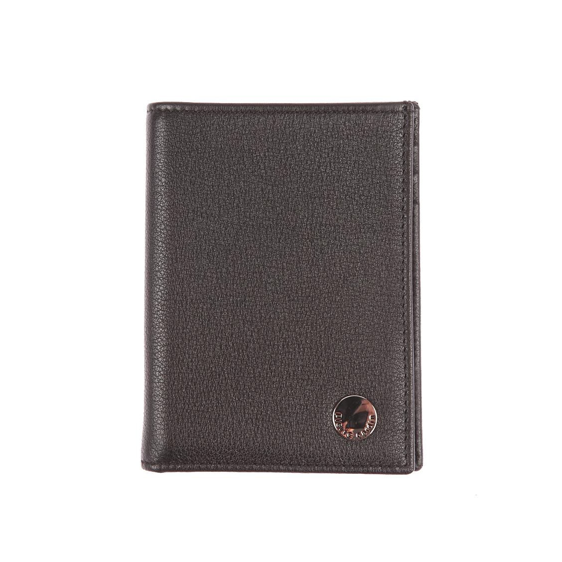 Petit portefeuille européen 2 volets pierre cardin en cuir grainé noir à porte-monnaie zippé