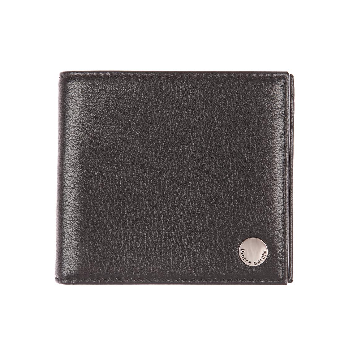 Portefeuille italien 2 volets pierre cardin en cuir grainé noir, porte-monnaie intégré