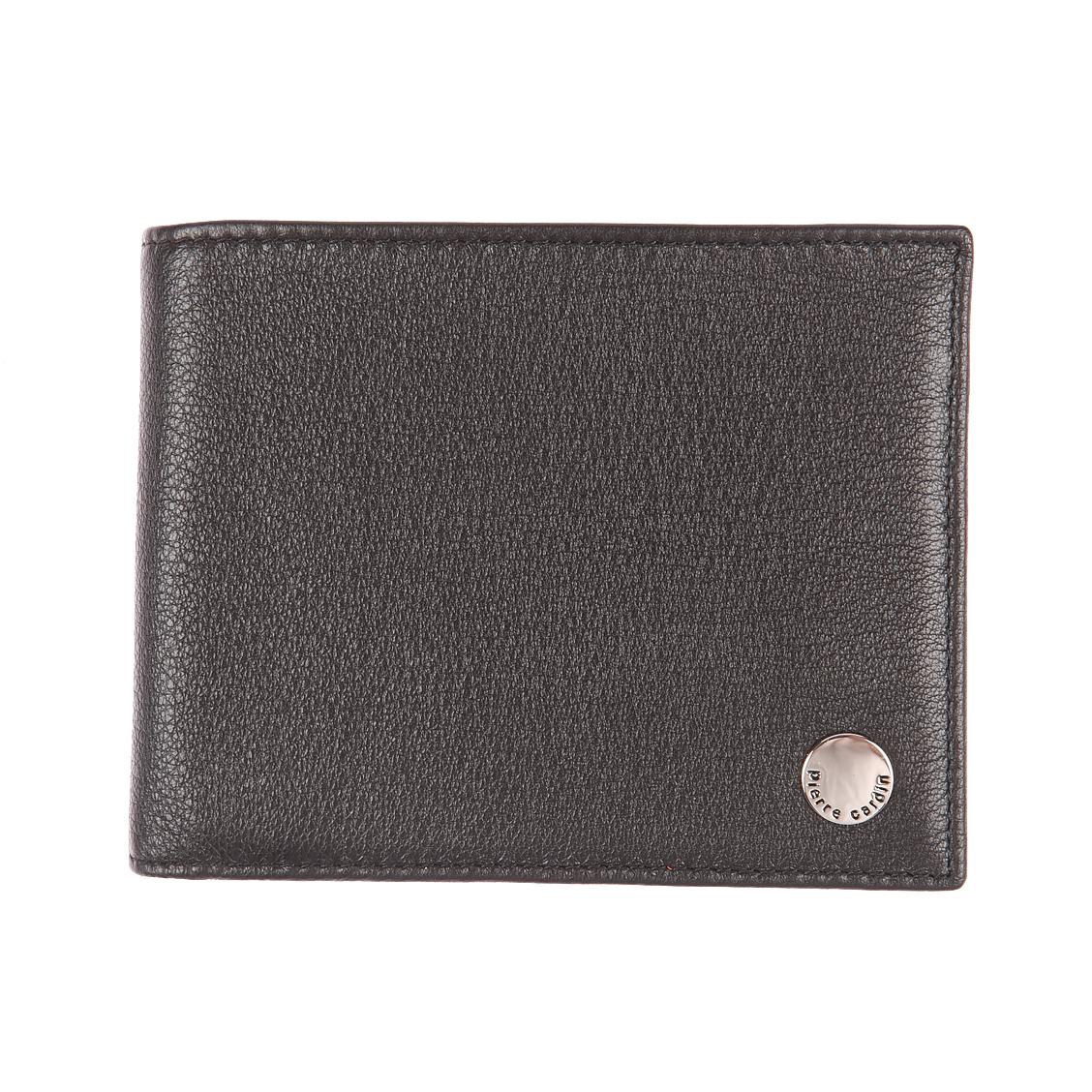 Portefeuille italien 3 volets pierre cardin en cuir grainé noir, porte-monnaie zippé