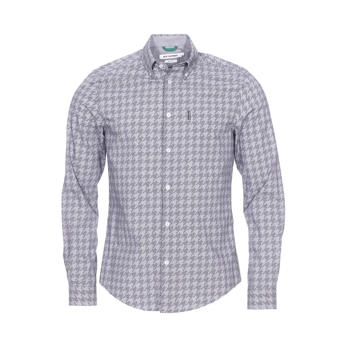 Chemise cintrée  en coton à motif pied de poule