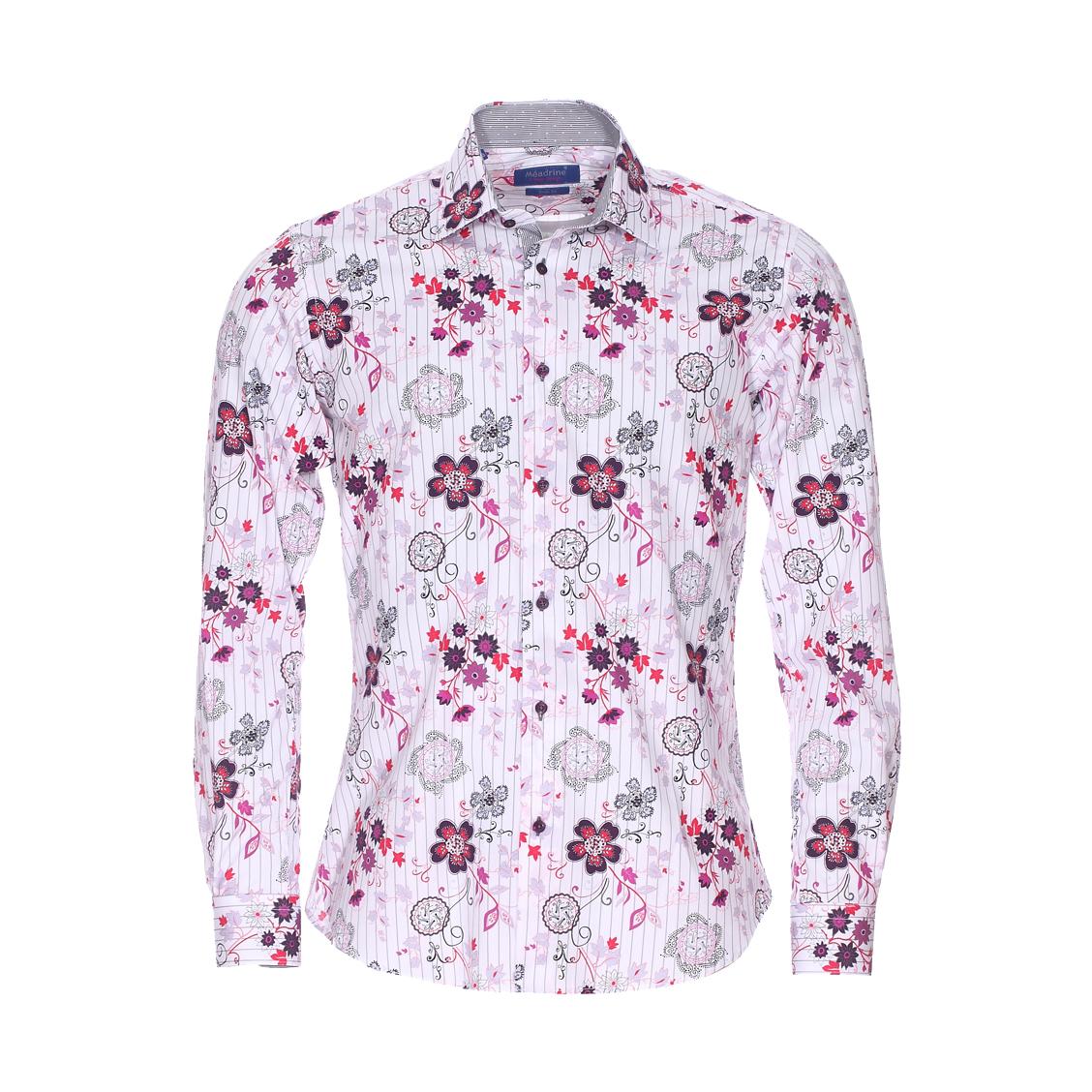 Chemise cintrée  en coton blanc à fleurs violettes et roses et rayures grises