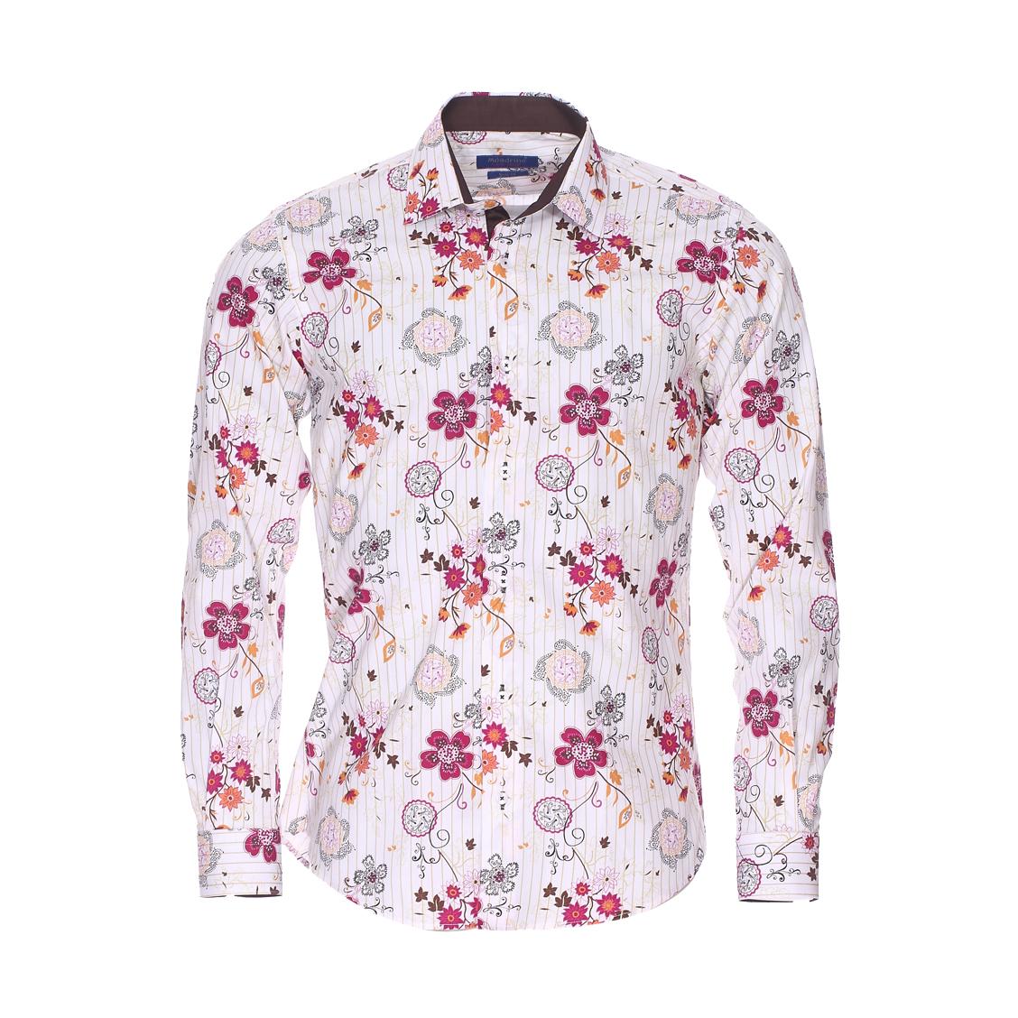 Chemise cintrée  en coton blanc à fleurs et rayures ocre