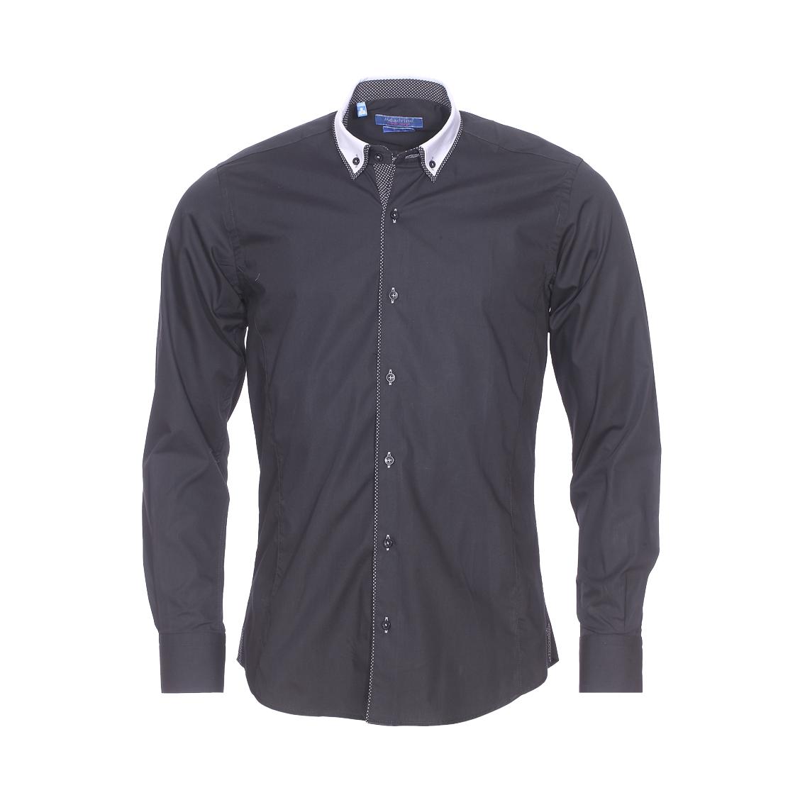 Chemise cintrée  en coton noir à double col