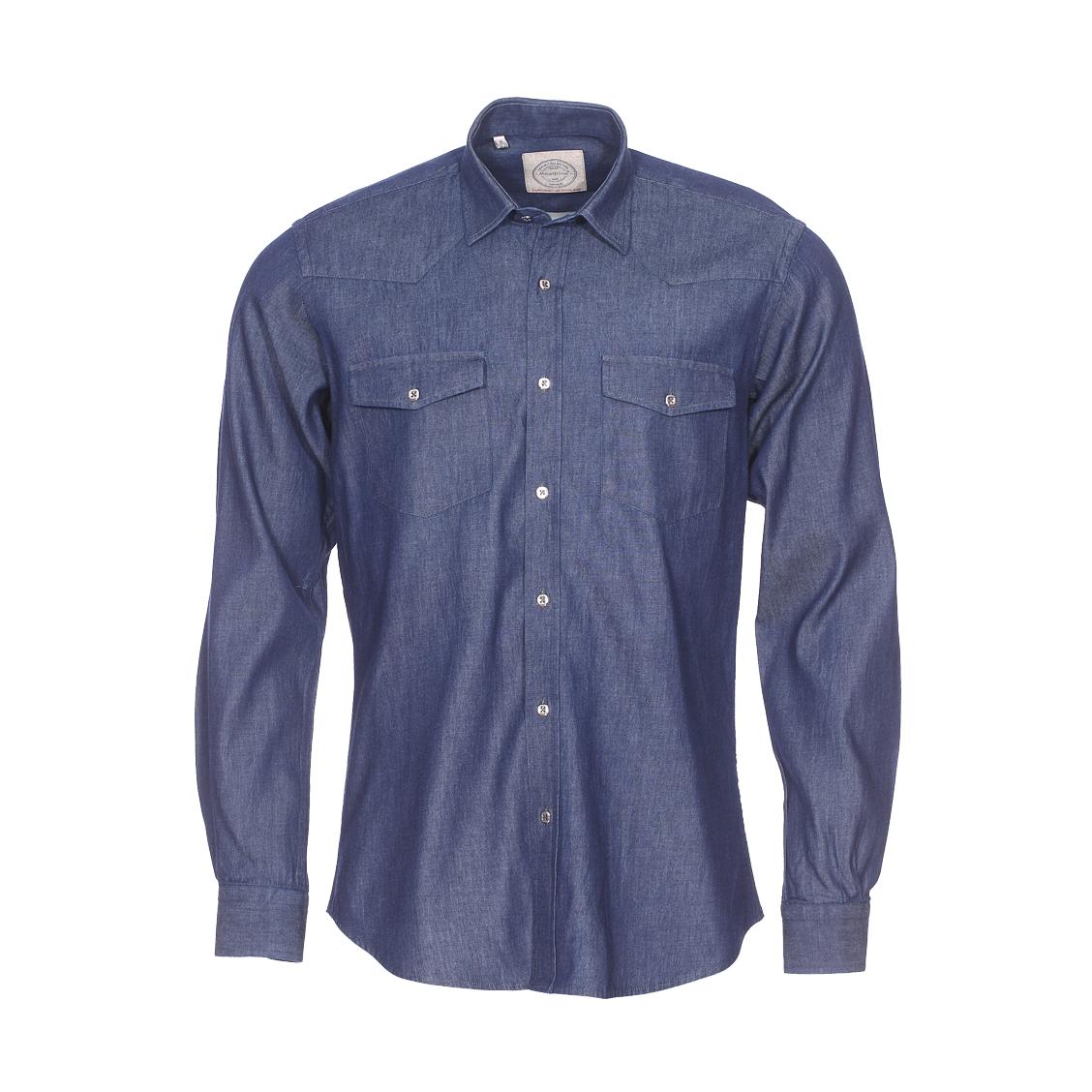 Chemise cintrée  en coton bleu jean